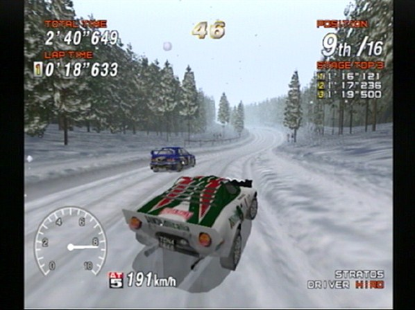 SEGA Rally 2 brings new racing environments, such as snow covered, forest tracks