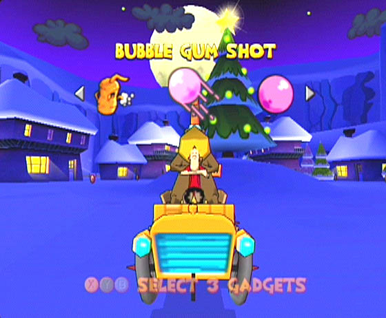 At the start of each race you get to assign three weapons/items to the X, Y and B buttons