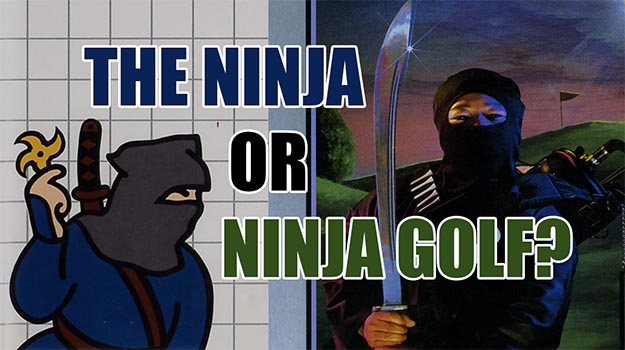 Photo of Sega's The Ninja and Atari's Ninja Golf trade shurikens in a Master System video mashup