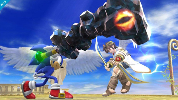 Photo of Sonic wields Doom's Eye-like club in Super Smash Bros.
