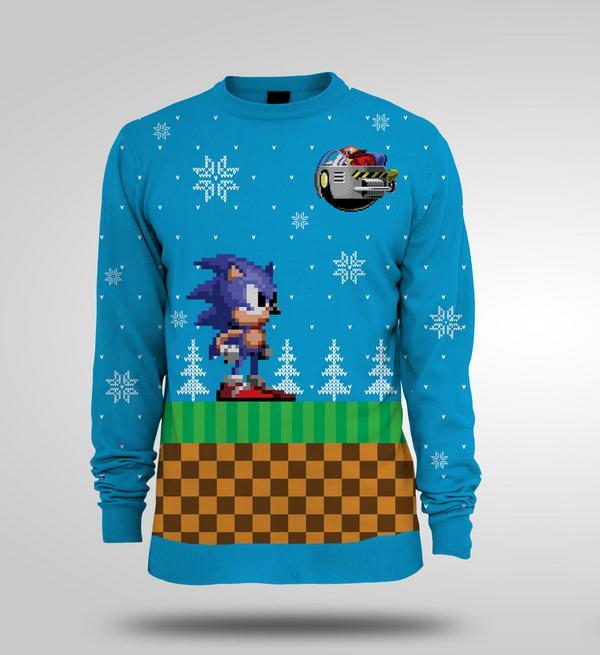 Nerd Christmas Jumper.Sonic Christmas Sweater Delayed No Longer Knitted Sega Nerds