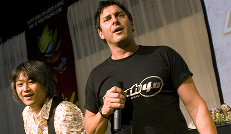 Photo of Johnny Gioeli, one half of Crush 40, working on solo album