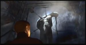 The mysterious Azel, discovered in an excavation site by the game's protagonist, Edge
